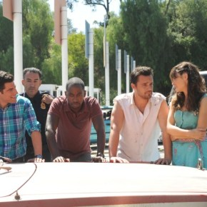 "NEW GIRL:  After helping Nick (Jake Johnson, second from R) escape from the custody of Mexican authorities, the gang (L-R:  Max Greenfield, Lamorne Morris and Zooey Deschanel) gets stopped at the border in the ""All In"" season premiere episode of NEW GIRL airing Tuesday, Sept. 17 (9:00-9:30 PM ET/PT) on FOX. ©2013 Fox Broadcasting Co.  Cr: Ray Mickshaw/FOX"
