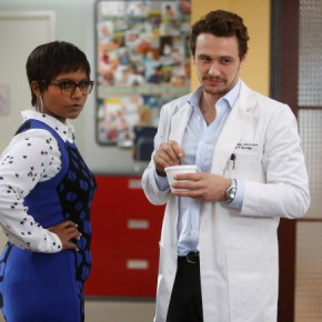 """THE MINDY PROJECT: James Franco (C) guest-stars as Dr. Paul Leotard, a charming, former model who also happens to be a sex therapist, in the """"All My Problems Solved Forever"""" season premiere episode of THE MINDY PROJECT airing Tuesday, Sept. 17 (9:30-10:00 PM ET/PT) on FOX. ©2013 Fox Broadcasting Co. Also pictured Mindy Kaling. Cr: Jordin Althaus/FOX"""