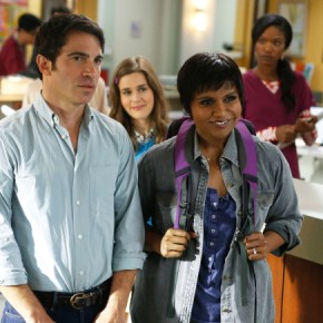 """THE MINDY PROJECT: Mindy returns to the office in the """"All My Problems Solved Forever"""" season premiere episode of THE MINDY PROJECT airing Tuesday, Sept. 17 (9:30-10:00 PM ET/PT) on FOX. ©2013 Fox Broadcasting Co. Also pictured L-R: Chris Messina, Zoe Jarman and Xosha Roquemore. Cr: Greg Gayne/FOX"""