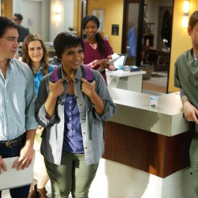 """THE MINDY PROJECT: Mindy returns to the office in the """"All My Problems Solved Forever"""" season premiere episode of THE MINDY PROJECT airing Tuesday, Sept. 17 (9:30-10:00 PM ET/PT) on FOX. ©2013 Fox Broadcasting Co. Also pictured L-R: Chris Messina, Zoe Jarman, Xosha Roquemore and Ike Barinholtz. Cr: Greg Gayne/FOX"""