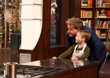 "MASTERCHEF JUNIOR: L-R: Gordon Ramsay and contestant Riley in the ""Raw Talent"" episode of MASTERCHEF JUNIOR airing Tuesday, Jan. 27 (8:00-9:00PM ET/PT) on FOX. CR: Greg Gayne / FOX. © 2014 FOX Broadcasting Co."