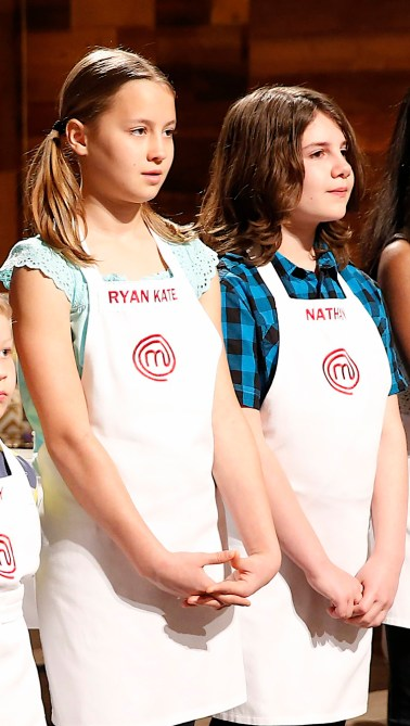 "MASTERCHEF: L-R: Contestants Ryan Kate and Nathan in the all-new ""Junior Edition: Family Style"" episode of MASTERCHEF airing Tuesday, Feb. 3 (8:00-9:00 PM ET/PT) on FOX. Also pictured: Gordon Ramsay (R). CR: Greg Gayne / FOX. © 2014 FOX Broadcasting."