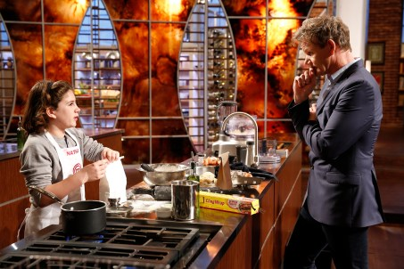 "MASTERCHEF: L-R: Contestant Nathan and Judge Ramsay in the all-new ""Junior Edition: Creme De La Creme"" episode of MASTERCHEF airing Tuesday, Feb. 17 (8:00-9:00 PM ET/PT) on FOX. CR: Greg gayne / FOX. © 2014 Fox Broadcasting."