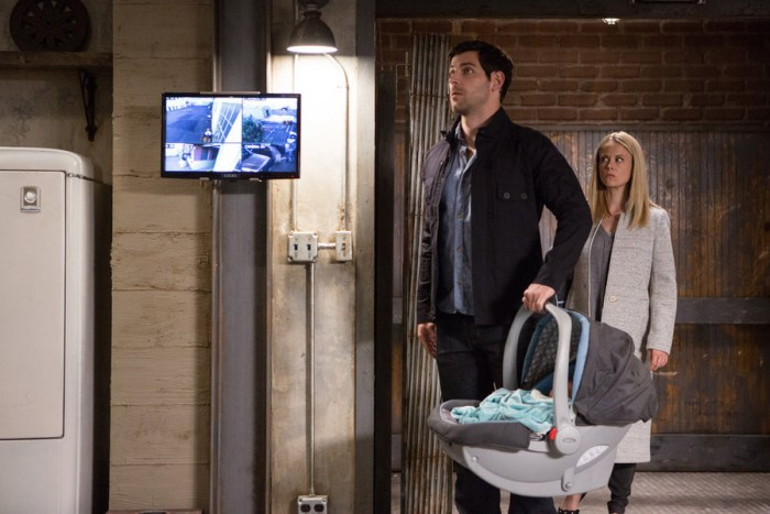 "GRIMM -- ""Lost Boys"" Episode 503 -- Pictured: (l-r) David Giuntoli as Nick Burkhardt, Claire Coffee as Adalind Schade -- (Photo by: Scott Green/NBC)"