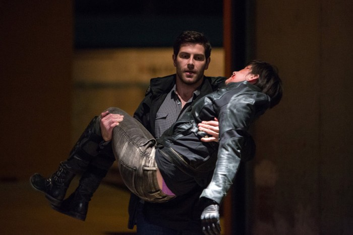 "GRIMM -- ""Rat King"" Episode 505 -- Pictured: (l-r) David Giuntoli as Nick Burkhardt, Jacqueline Toboni as Truble -- (Photo by: Scott Green/NBC)"