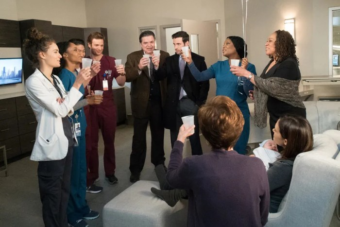 "CHICAGO MED -- ""Bound"" Episode 106 -- Pictured: (l-r) Rachel DiPillo as Dr. Sarah Reese, Yaya DaCosta as April Sexton, Brian Tee as Dr. Ethan Choi, Nick Gehlfuss as Dr. Will Halstead, Oliver Platt as Dr. Daniel Charles, Colin Donnell as Dr. Connor Rhodes, Marlyne Barrett as Maggie Lockwood, S. Epatha Merkerson as Sharon Goodwin, Torrey DeVitto as Dr. Natalie Manning, Annie Potts as Helen Manning -- (Photo by: Elizabeth Sisson/NBC)"