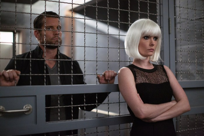 "GRIMM -- ""Eve of Destruction"" Episode 507 -- Pictured: (l-r) Damien Puckler as Meisner, Bitsie Tulloch as Eve -- (Photo by: Scott Green/NBC)"