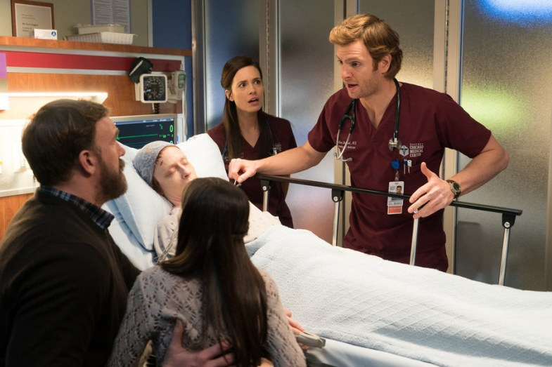 "CHICAGO MED -- ""Choices"" Episode 109 -- Pictured: (l-r) Ross Kimball as Sal, Eva Kaminsky as Jennifer, Torrey DeVitto as Dr. Natalie Manning, Nick Gehlfuss as Dr. Will Halstead -- (Photo by: Elizabeth Sisson/NBC)"