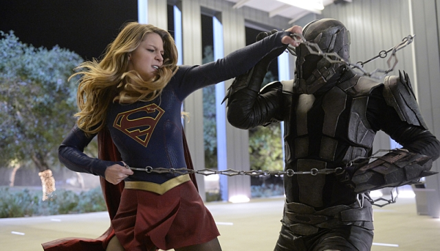 """Truth, Justice and the American Way"" -- Supergirl (Melissa Benoist, left) does battle with the deadly Master Jailer (Jeff Branson, right), who is hunting and executing escaped Fort Rozz prisoners, on SUPERGIRL, Monday, Feb. 22 (8:00-9:00 PM, ET/PT) on the CBS Television Network. Photo: Darren Michaels/Warner Bros. Entertainment Inc. © 2016 WBEI. All rights reserved."