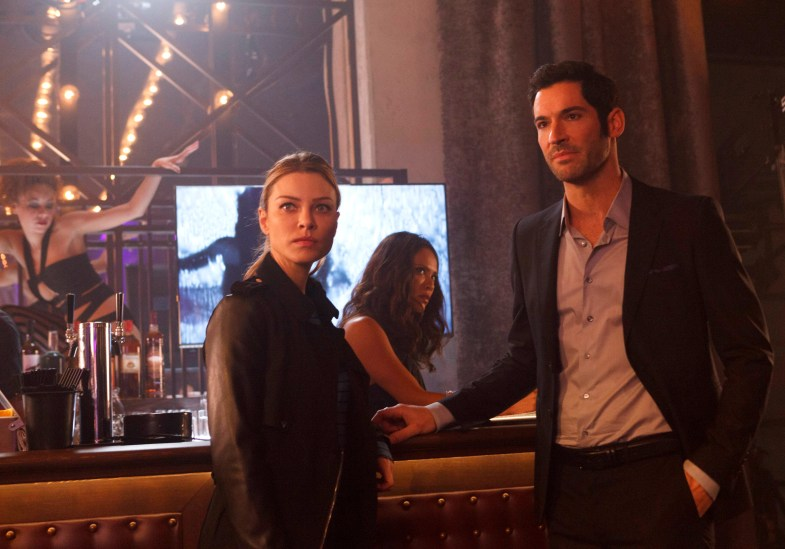 "LUCIFER: L-R: Lauren German, Lesley-Ann Brandt and Tom Ellis in the ""A Priest Walks into a Bar"" episode of LUCIFER airing Monday, March 21 (9:00-10:00 PM ET/PT) on FOX. ©2016 Fox Broadcasting Co. CR: Michael Courtney/FOX"