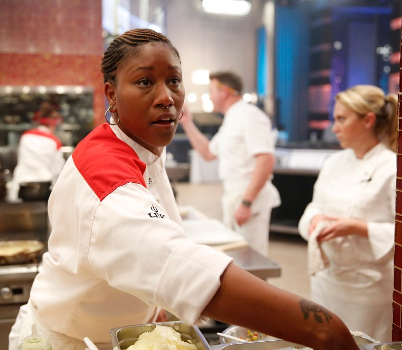 "HELL'S KITCHEN: Contestant Aziza in the all-new ""17 Chefs Compete"" episode of HELL'S KITCHEN airing Friday, Sept. 30 (8:00-9:01 PM ET/PT) on FOX. Cr: Greg Gayne / FOX. © 2016 FOX Broadcasting Co."