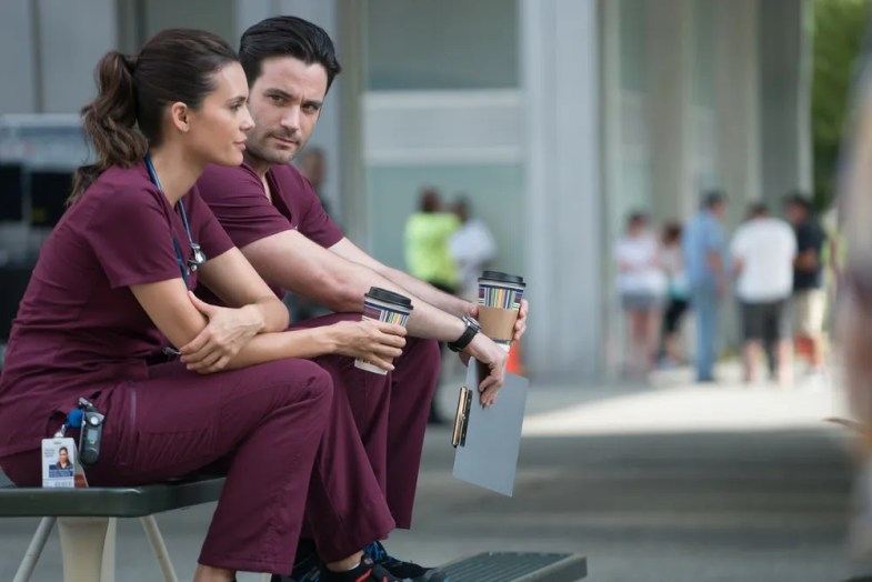 "CHICAGO MED -- ""Win Loss"" Episode 203 -- Pictured: (l-r) Torrey DeVitto as Natalie Manning, Colin Donnell as Connor Rhodes -- (Photo by: Elizabeth Sisson/NBC)"