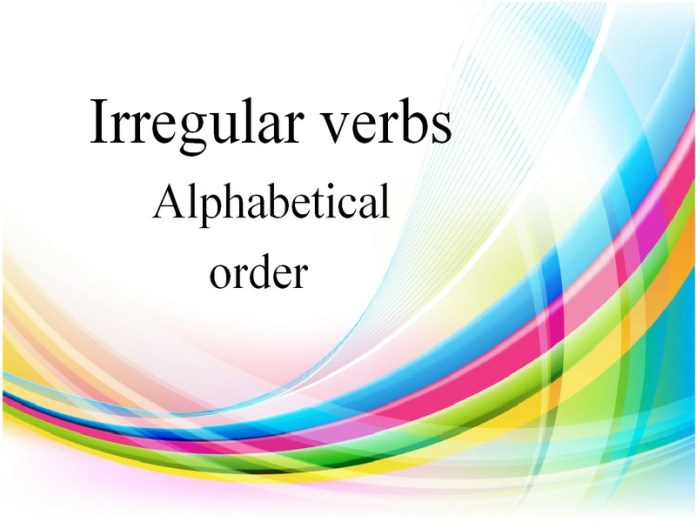 Irregular verbs alphabetical order