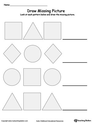 draw the missing shape to complete the pattern printable worksheet
