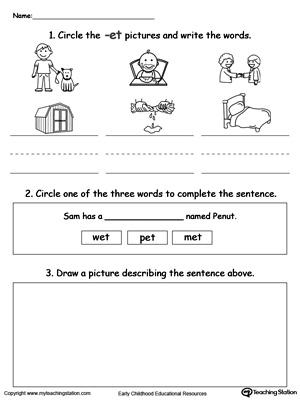 ET Word Family Workbook For Kindergarten