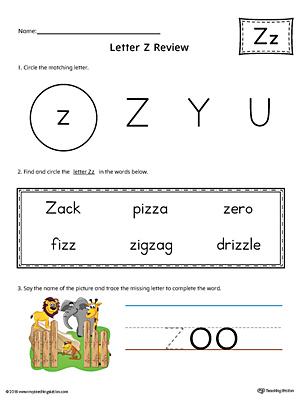 Learning The Letter Z Worksheet Color