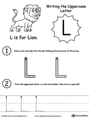 Writing Uppercase Letter L Free Worksheet