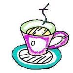 tea cup for bookmark - U