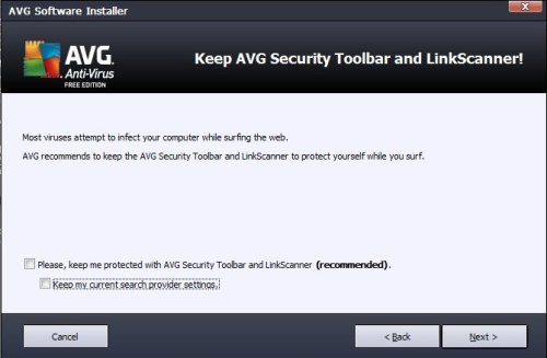 Remove AVG Security Toolbar and LinkScanner