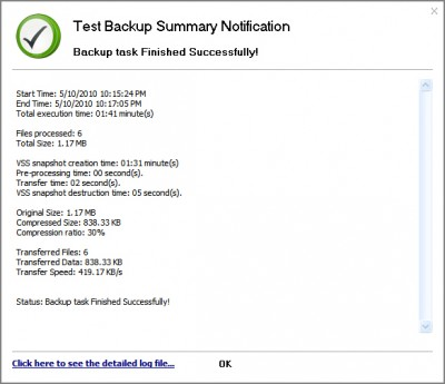 GFI Backup - Backup task log