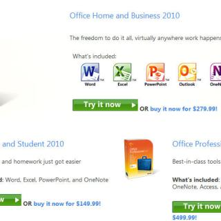 Try Office 2010 Retail editions