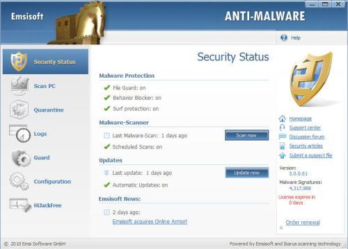 emsisoft anti-malware security status