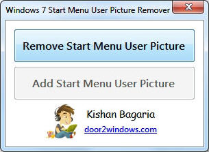 Windows 7 Start Menu User Picture Remover