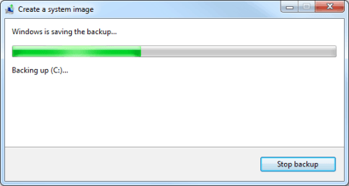 system image backup progress