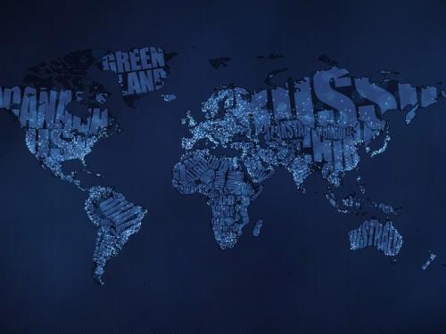 Typographic world map