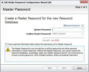 Create Master Password in Sticky Password