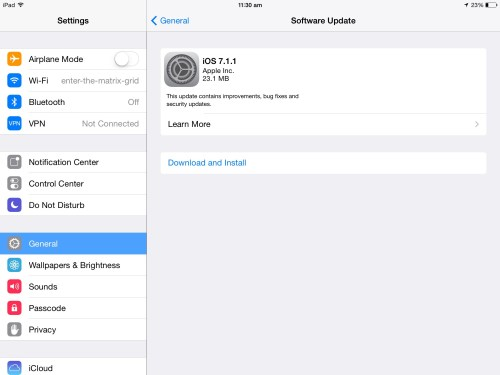 Download iOS 7.1.1 update