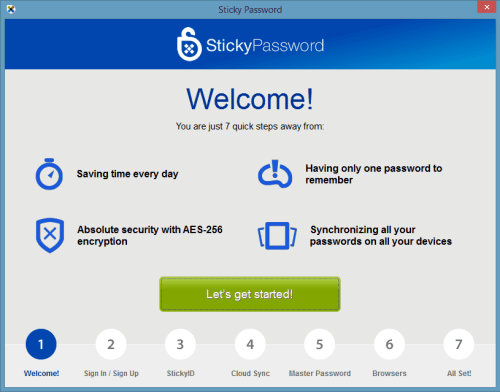 Sticky Password Premium Post Installation Wizard
