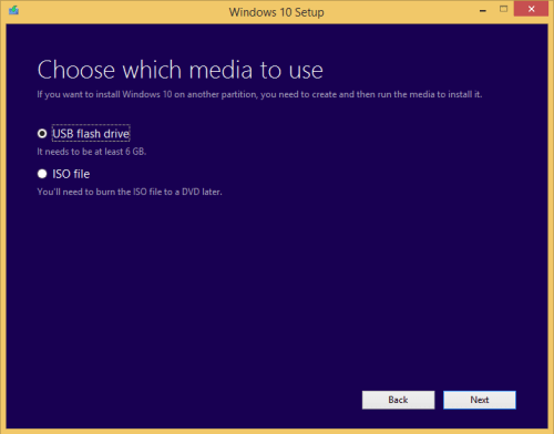 Create Windows 10 USB or ISO media