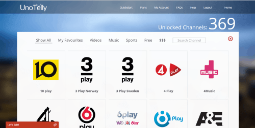 List of channels supported by UnoTelly