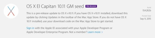 OS X El Capitan 10.11 GM Download