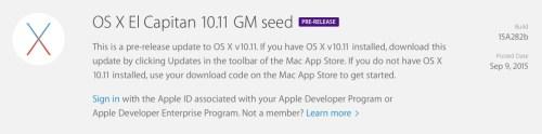 OS X El Capitan 10.11 GM Download