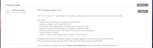 OS X 10.11.1 El Capitan Update