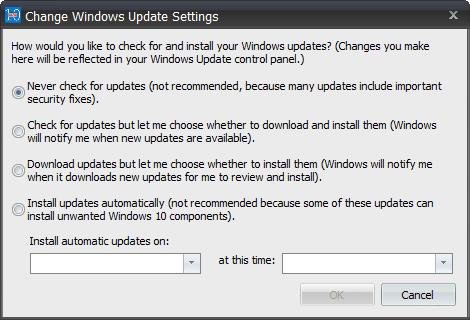 GWX Control Panel - Windows Update settings