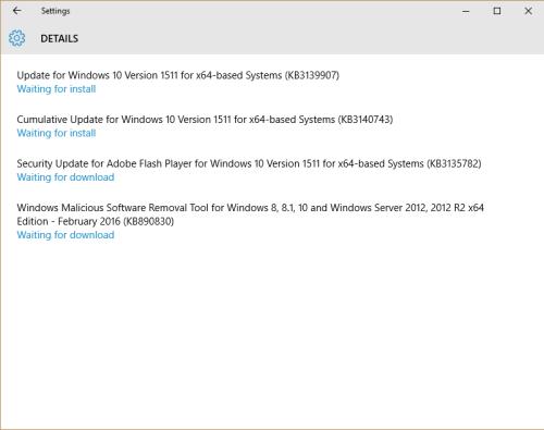 KB3140743 Cumulative Update for Windows 10 Version 1511