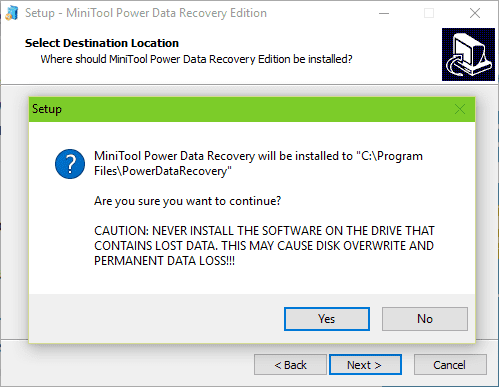 MiniTool Power Data Recovery Install Warning