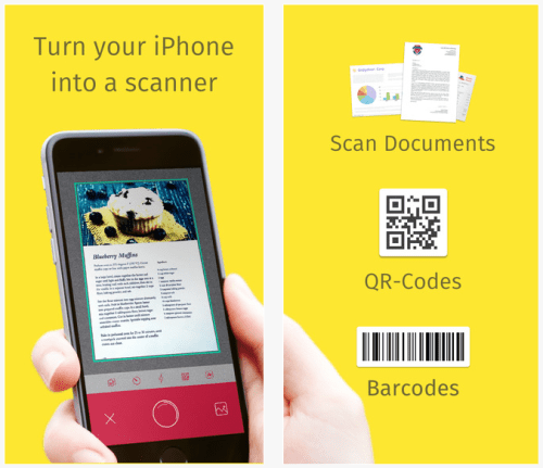 Scanner, QR Code & Automatic Barcode Reader App – Scan your PDF document, business card or whiteboard notes and upload to cloud storage with Scanbot!
