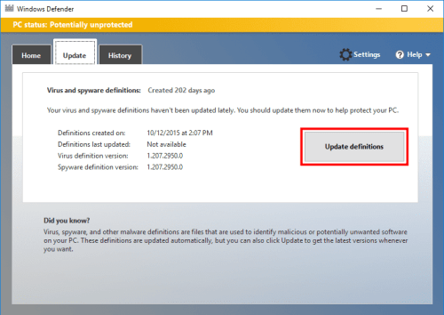 Manually Update Windows Defender in Windows 10