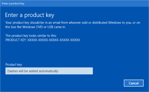 Change Windows 10 Product Key