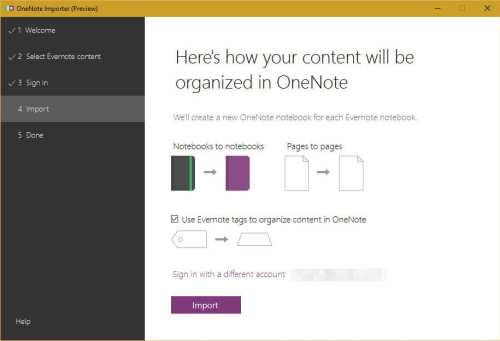 evernote to onenote import data