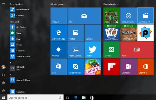 Windows 10 Anniversary Update Start Menu Redesigned