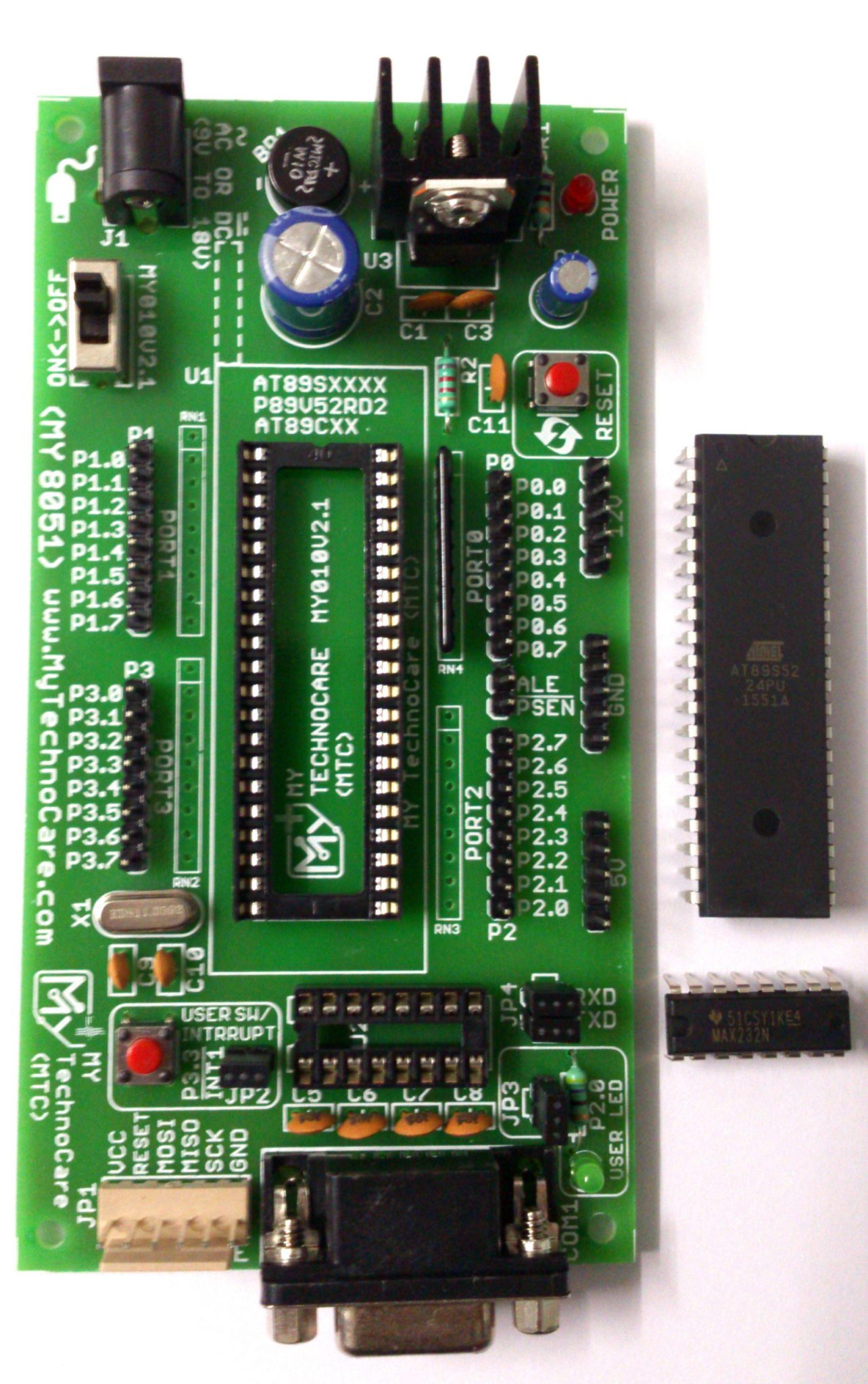 8051 Development Board Microcontroller Project Kit My Technocare Low Cost Arm Microcontrollers Dev Buy Atmel With Max232 At89s52 Ic Support At89s51