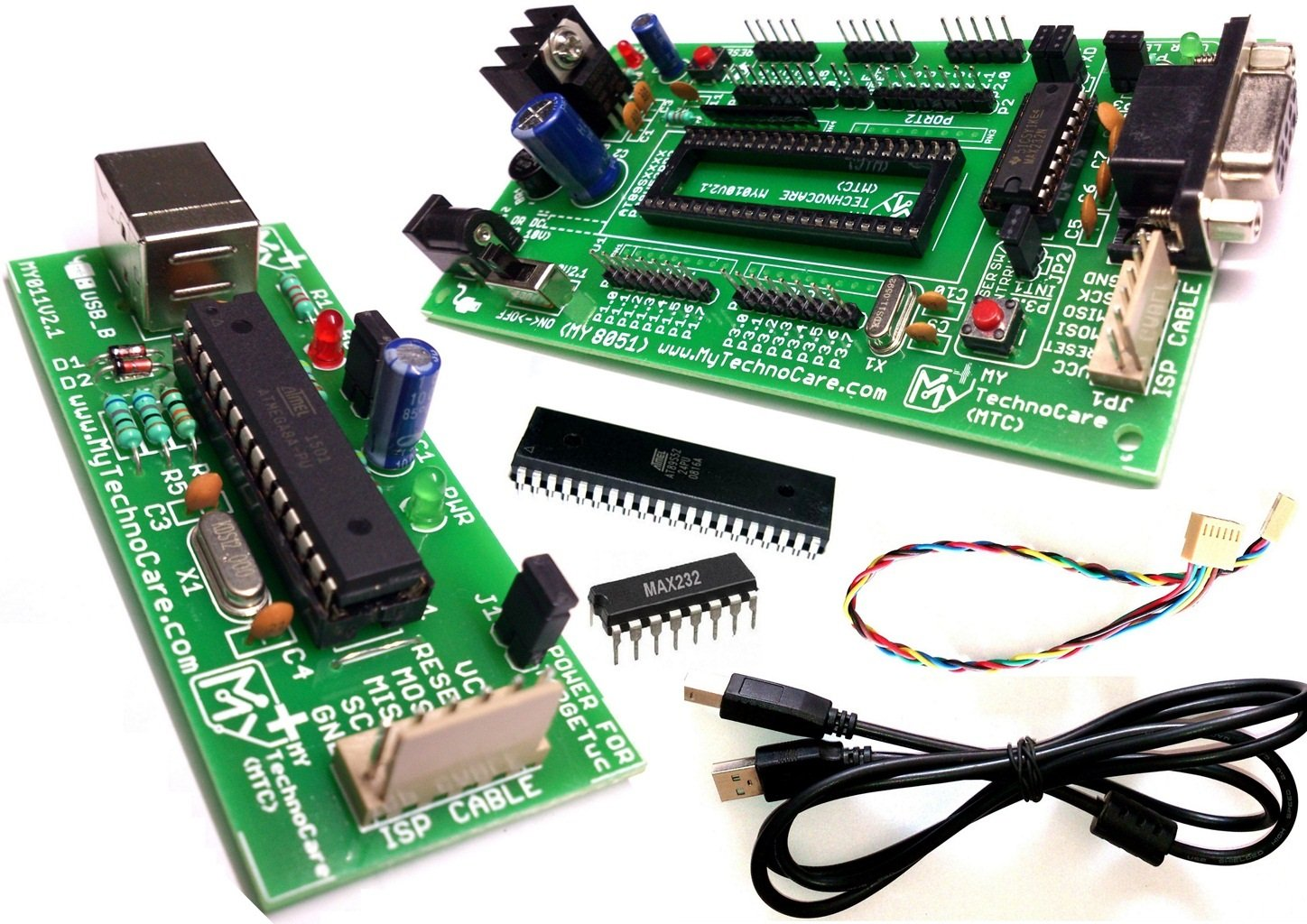 8051 Development Board With Usb Programmer My Technocare Max 232 Circuit Schematic Working Gsm Modem Pc Serial Port Programmermax232atmel At89s52 Ic Microcontroller Project Kit