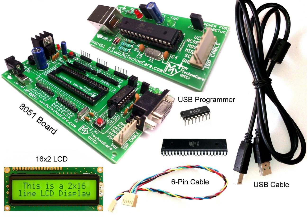 8051 Development Board With Lcd 16x2 Programmer My Technocare Usb For Atmel Avr Microcontrollers Microcontroller Project Asp