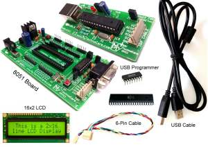 8051 Development Board With LCD 16x2 & USB Programmer for Microcontroller Project Board Atmel USB asp ISP AVR Programmer MyTechnoCare.com