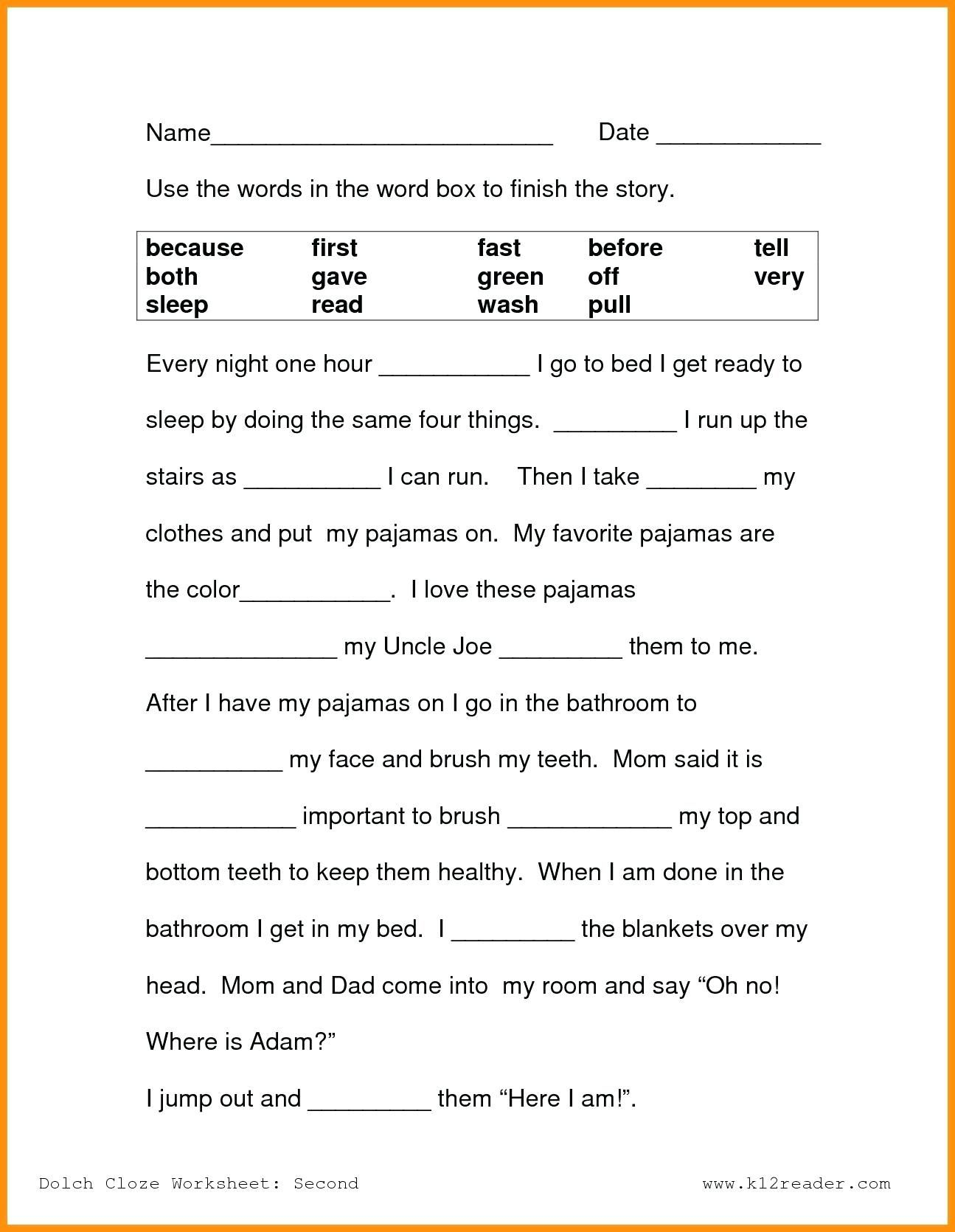 3rd Grade Reading Worksheets Of First Grade Reading